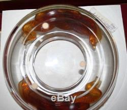 Lalique Clear and Frosted Amber Glass Serpent Bowl, late 20th century