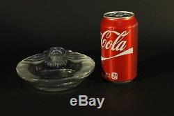Lalique Crystal Art Glass France Frosted Tete De Lion Head Ashtray Bowl Signed