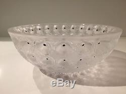 Lalique Crystal Nemours Black and Frosted Cactus Flower Bowl