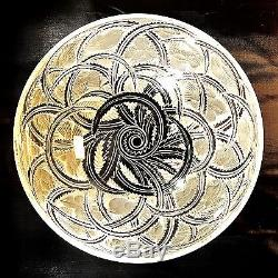 Lalique Cut and Frosted Circular Glass Bowl Pinsons Pattern