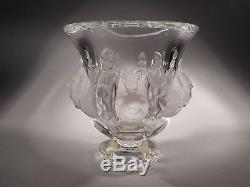 Lalique Dampierre Eight Sparrows Signed Art Glass Vase Footed Bowl