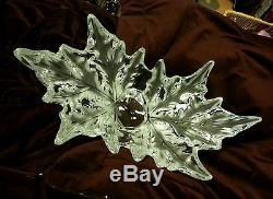 Lalique France Champs Elysees Bowl Centerpiece Frosted Leaves Signed & Numbered