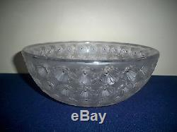 Lalique France Crystal Glass Nemours Cactus Flower Center Bowl Signed 9 7/8