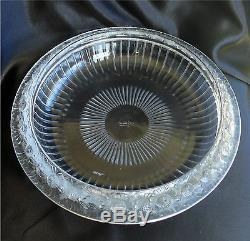 Lalique France Marguerites Daisy Center Console Bowl on Lighted Plateau Stand