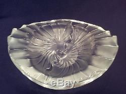 Lalique France Nancy Crystal Oval Candy Bowl Art Deco Frosted Glass