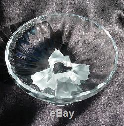 Lalique France Nogent Compote Frosted Birds & Clear Bowl