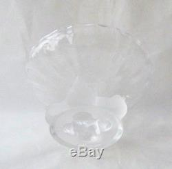 Lalique France Nogent Compote Frosted Birds and Clear Bowl
