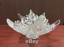 Lalique French Champs Elysees Clear Crystal Leaf Centerpiece Bowl Signed