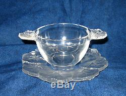 Lalique Honfleur Ice Cream Bowl (cream soup bowl) and Saucer