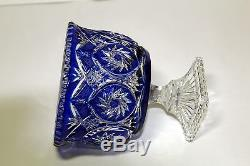 Large Bohemian Cobalt Blue Cut to Clear Footed Crystal Bowl