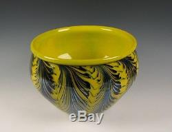 Large Charles Lotton Yellow Wisteria Art Glass Bowl or Vase