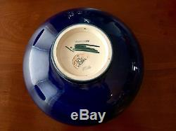Large Deep Blue Moorcroft Footed Bowl Orchid Pattern Excellent