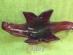 Large Vintage Murano Freeform Art Glass Centre piece Dish Bowl red green 45 cm