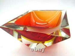 Large geometric shaped Murano sommerso red & amber faceted art glass block bowl