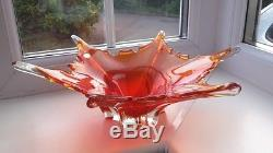 Large vintage Murano sommerso art glass bowl dating from the 1960's
