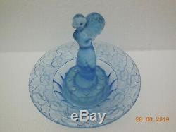 Libochovice Art Deco Blue 2 Piece Float Bowl with 8 Hole Frog Lady with Flowers