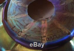 Lot of 3 Tiffany Art Glass Favrile Bowls Iridescent Cobalt Blue signed LCT