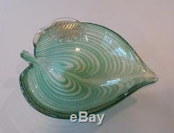 MID-CENTURY MURANO ART GLASS LEAF DISH / BOWL, TEAL with AVENTURINE (GOLD MICA)
