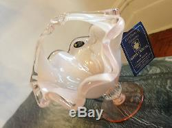 MURANO ART GLASS BOWL CANDY DISH LIGHT PINK, WHITE CRYSTAL WITH HANDLE NEW