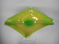 Massive ED BRANSON Signed Hand Blown Art Glass Lime Yellow Tropical Console Bowl