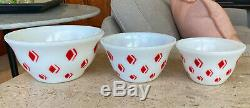 McKee Art Deco Red Diamond Design Bell Form Mixing Bowl Set 9 7 & 6 Sizes