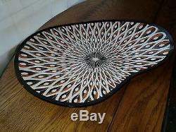 Mid Century Modern Eames Era Atomic Jacques Colton Peacock Glass Bowl Tray Art