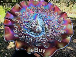 Millersburg TROUT & FLY ANTIQUE CARNIVAL ART GLASS 3 in 1 BOWLPURPLEGORGEOUS