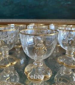 Moser Art Glass Large Punch Bowl Set Quatrefoil Gilded Incredible Bell Tone