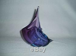 Murano Art Glass Lavender Purple Conch Sea Shell Bowl Barbini Free U. S. Ship