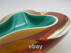 Murano Barbini Seguso era space age Sommerso blue and amber art glass geode bowl
