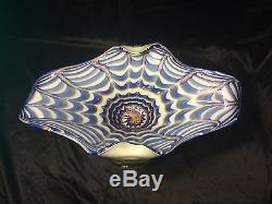 Murano Italian Art Glass Large Footed Bowl Dark Blue White & Gold Copper Mint