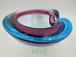 Murano Sommerso Blue & purple lilac art glass geode bowl 50s / 60s LARGE
