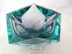 Murano Sommerso Flávio Poli RARE faceted art glass bowl purple & turquoise 2.8kg