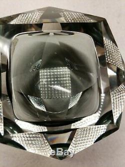 Murano Sommerso Mandruzzato Multi-Faceted Op-Art Glass Geode Bowl Clear Gray