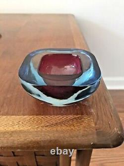 Murano Square Archimede Seguso Geode Bowl Sommerso Art Glass Pink & Blue 60s