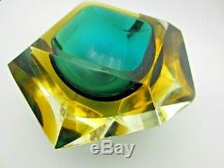 Murano art glass green & Amber Faceted Geometric Sommerso block Bowl + Fish