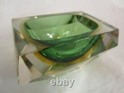 Murano geometric block cut green amber sommerso faceted art glass bowl