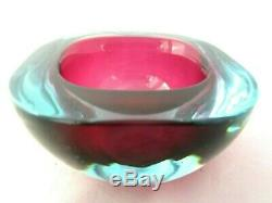Murano pink in blue Sommerso flat top art glass Geode bowl seguso 60's