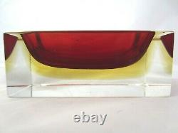Murano sommerso red in amber faceted brick block art glass bowl