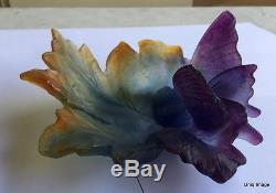 NEW DAUM Crystal Pate De Verre Large 7 Butterfly Papillion Leaf Tray Dish Bowl