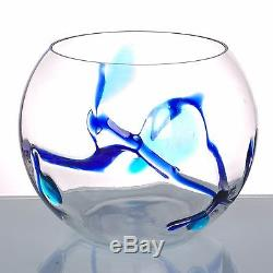 New 10 Hand Blown Art Glass Bubble Vase Bowl with Artistic Tree Clear Decorative