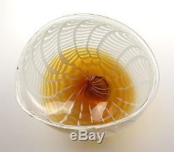 New 20 Hand Blown Murano Art Style Glass Bowl White Amber with Wall Hanging Mount