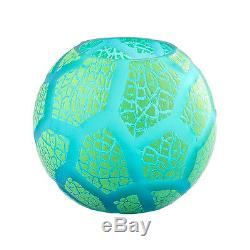 New 6 Hand Blown Glass Art Bubble Vase Bowl Green Patterned Decorative