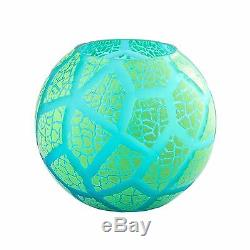 New 8 Hand Blown Glass Art Bubble Vase Bowl Green Patterned Decorative
