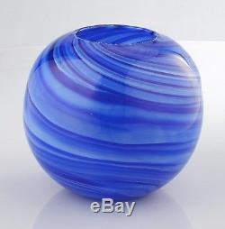 New 8 Hand Blown Glass Murano Art Style Vase Bowl Blue Decorative