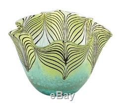 New 9 Hand Blown Glass Murano Art Style Bowl Green Blue Pulled Feather