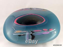 Nicholson Blown Glass Oval Studio Art Glass Bowl with Abstract Decor Dated 1989