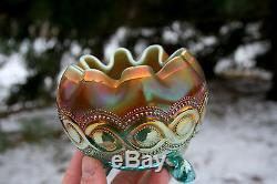 Northwood BEADED CABLE ANTIQUE CARNIVAL ART GLASS ROSE BOWLAQUA OPALESCENT