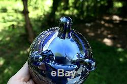 Northwood BEADED CABLE ANTIQUE CARNIVAL ART GLASS ROSE BOWLELECTRIC BLUESUPER