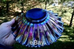Northwood GOOD LUCK ANTIQUE CARNIVAL ART GLASS PCE BOWLELECTRIC BLUEHOT COLOR